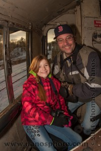 Callie and I in the cab of G&U 1801 on our daddy-daughter railro
