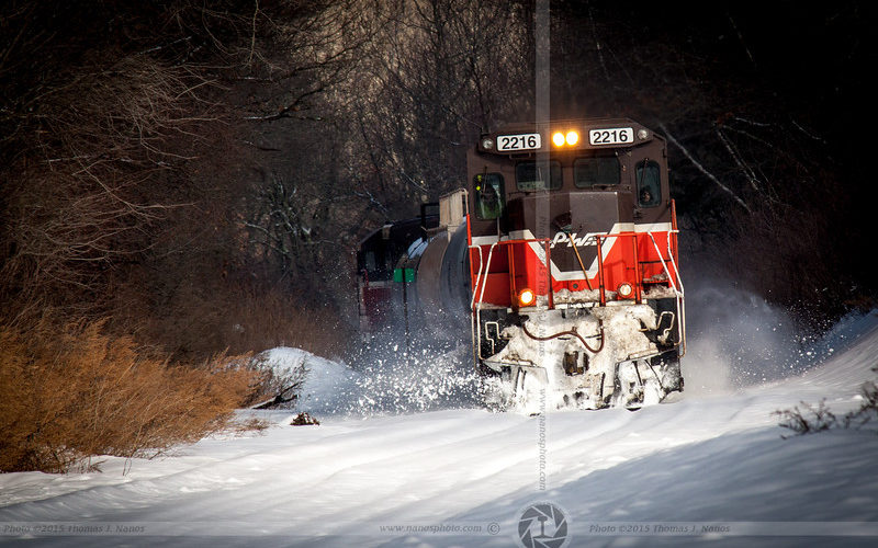 A Providence & Worcester Railroad Gas Extra heads south through Plainfield, Conn. clearing some freshly fallen snow.