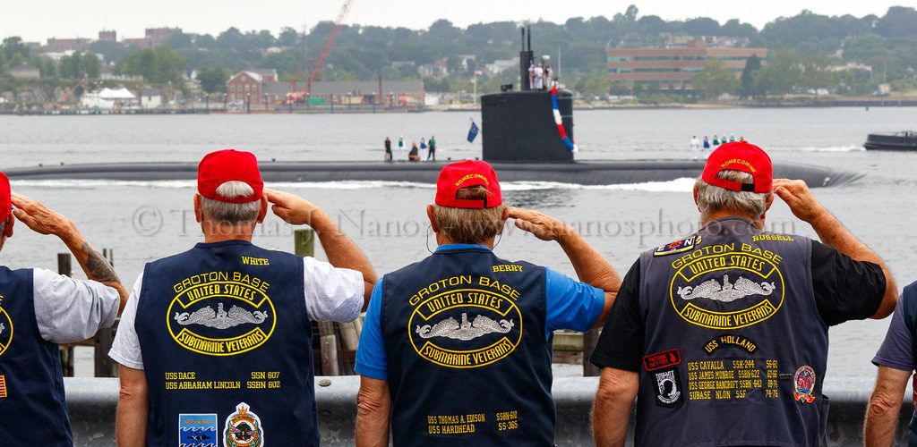 Submarine Veterans salute the USS Springfield's return to her home port of Groton, Connecticut.