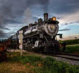 The 7pm passenger excursion on the Strasburg Rail Road heads back to the station a little before sunset.