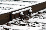 Snowy rail and joint bar near MP7 in Ledyard