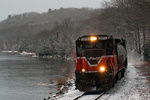 NR-2 in a snowy landscape along the Thames River in Ledyard