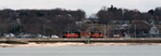 NR-2 rolling along the Niantic Bay Boardwalk, which will be removed for the construction of the new Niantic River drawbridge.